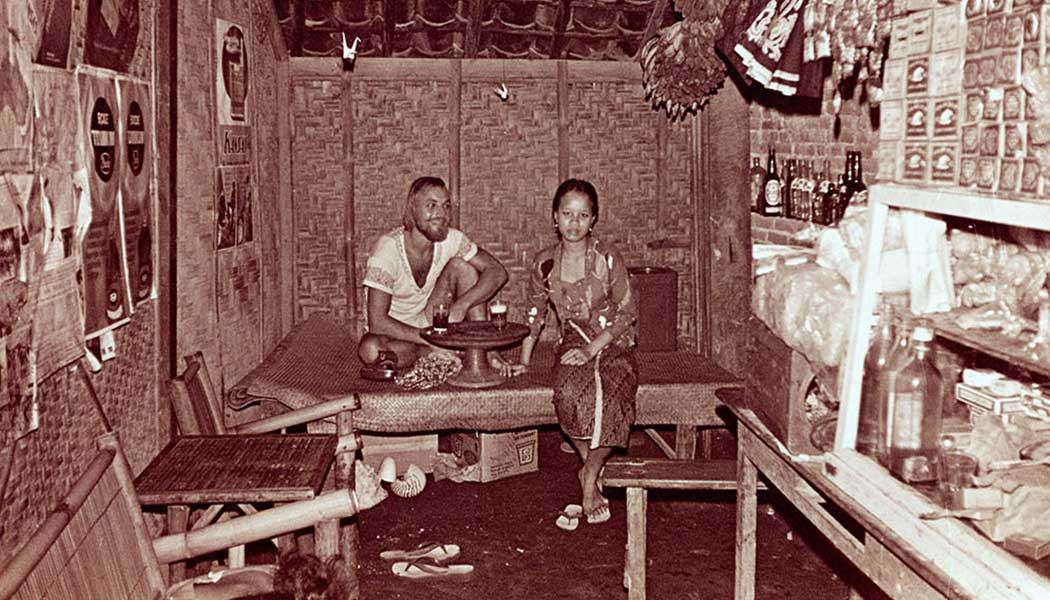Peter and Made at Made's Warung, Kuta, 1974